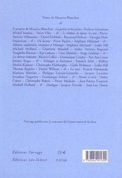 Maurice Blanchot - Recits Critiques - 4ème de couverture - Format classique