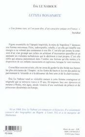 Letizia Bonaparte - 4ème de couverture - Format classique