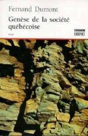 Genèse de la société québécoise - Couverture - Format classique