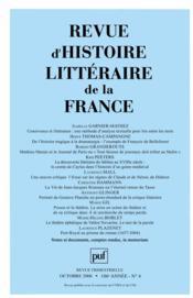Revue D'Histoire Litteraire De La France N.2006/4 - Couverture - Format classique