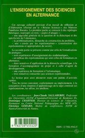 L'Enseignement Des Sciences En Alternance - 4ème de couverture - Format classique