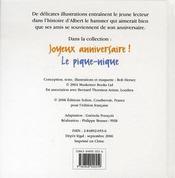 Albert Le Hamster ; Joyeux Anniversaire - 4ème de couverture - Format classique