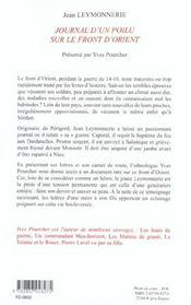 Journal D'Un Poilu Sur Le Front D'Orient - 4ème de couverture - Format classique