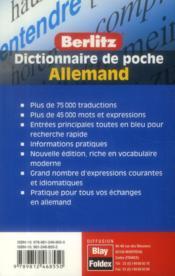 Dictionnaire de poche Berlitz ; français-allemand / allemand-français - 4ème de couverture - Format classique