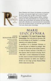 Marie Leszczynska ; épouse de Louis XV - 4ème de couverture - Format classique