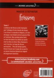 Frisson t.1 ; frisson - 4ème de couverture - Format classique