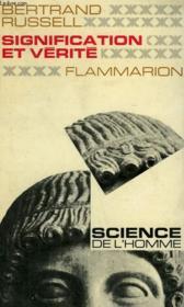 Signification Et Verite. Collection : Science De L'Homme. - Couverture - Format classique