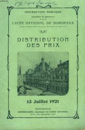 DISTRIBUTION DES PRIX 13 juillet 1921. LYCEE NATIONAL DE BORDEAUX - Couverture - Format classique