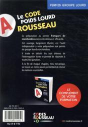 Code Rousseau ; codes transport de marchandises : groupe lourd - 4ème de couverture - Format classique