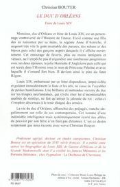 Le duc d'orleans - 4ème de couverture - Format classique