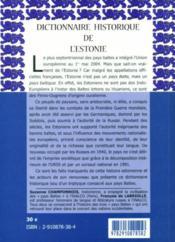 Dictionnaire historique de l'Estonie - 4ème de couverture - Format classique