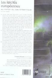 Laicites europeennes au miroir du cas britannique - 4ème de couverture - Format classique