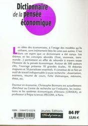 Dictionnaire de la pensee economique - 4ème de couverture - Format classique