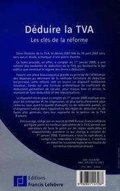 Deduire la TVA ; les cles de la reforme - 4ème de couverture - Format classique