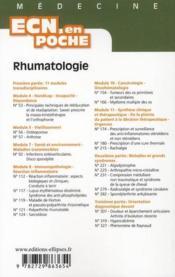 Rhumatologie Tout Le Programme En Fiches L'Essentiel En Format Poche - 4ème de couverture - Format classique