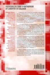 Pouvoirs du chef d'entreprise et libertés du salarié ; du salarié-citoyen au citoyen-salarié - 4ème de couverture - Format classique