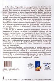 Le de opificio dei ; regards croisés sur l'anthropologie de lactance - 4ème de couverture - Format classique