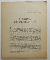 A Propos De L'Affectivite. - Couverture - Format classique