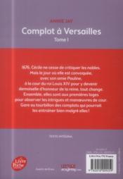 Complots à Versailles T.1 - 4ème de couverture - Format classique