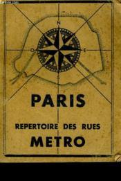 Paris Repertoire Des Rues Metro - Couverture - Format classique