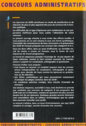 Qcm De Francais Categories B Et C Tous Ministeres Concours Administratifs Fonction Publique - 4ème de couverture - Format classique