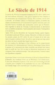 Le Siecle De 1914 - 4ème de couverture - Format classique