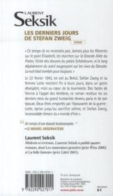 Les derniers jours de Stefan Zweig - 4ème de couverture - Format classique