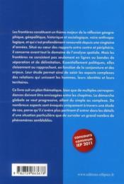 Les frontières en 8 jours ; concours comun des IEP 2011 ; épreuve de questions contemporaines - 4ème de couverture - Format classique