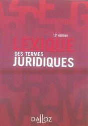 Lexique Des Termes Juridiques (16e Edition) - Intérieur - Format classique