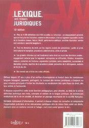 Lexique Des Termes Juridiques (16e Edition) - 4ème de couverture - Format classique
