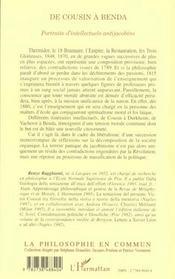 De Cousin à Benda ; portraits d'intellectuels antijacobins - 4ème de couverture - Format classique