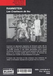 Rammstein ; les crasheurs de feu - 4ème de couverture - Format classique