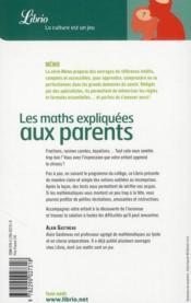 Les Maths Expliquees Aux Parents - 4ème de couverture - Format classique