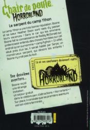 Chair de poule ; horrorland t.9 ; le serpent du camp Ython - 4ème de couverture - Format classique