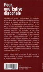Pour une Eglise diaconiale ; vers Diaconia 2013 - 4ème de couverture - Format classique