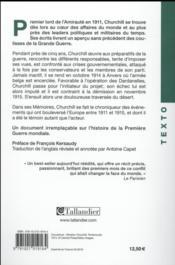 Mémoires de la Grande Guerre t.1 ; 1911-1915 - 4ème de couverture - Format classique