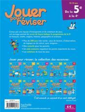 Jouer pour réviser ; de la 5e à la 4e - 4ème de couverture - Format classique