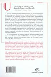 Pouvoirs et institutions dans la France médiévale t.1 ; des origines à l'époque féodale - 4ème de couverture - Format classique