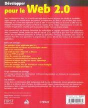 Développer pour le web 2.0 - 4ème de couverture - Format classique