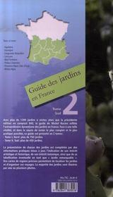 Guide des jardins en France t.2 ; Sud - 4ème de couverture - Format classique