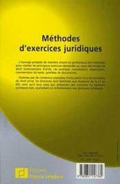 Méthodes d'exercices juridiques - 4ème de couverture - Format classique