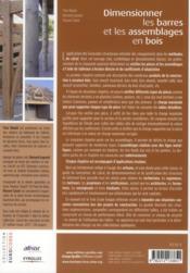 Dimensionner les barres et les assemblages en bois ; guide d'application de l'Eurocode 5 à l'usage des artisans - 4ème de couverture - Format classique