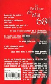 Le Petit Livre De Mai 68 - 4ème de couverture - Format classique