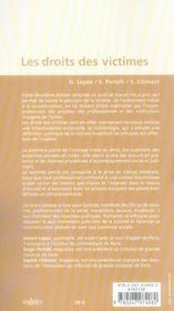 Les droits des victimes ; droit, auditions, expertise, clinique (2e édition) - 4ème de couverture - Format classique