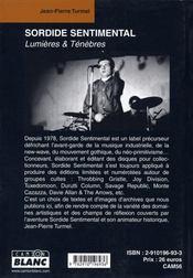 Sordide sentimental ; lumières et ténèbres - 4ème de couverture - Format classique