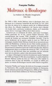 Malraux à Boulogne ; la maison du musée imaginaire 1945-1962 - 4ème de couverture - Format classique