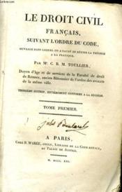 Le Droit Civil Francais, Suivant L'Ordre Du Code Tome I - Couverture - Format classique