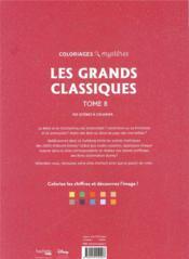 Coloriages mystères ; les grands classiques disney t..8 ; coloriez les chiffres et découvrez l'image ! - 4ème de couverture - Format classique