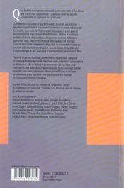 Pratiques d'enseignement et difficultés d'apprentissage - 4ème de couverture - Format classique