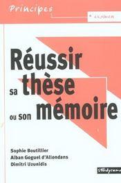 Réussir sa thèse ou son mémoire - Intérieur - Format classique